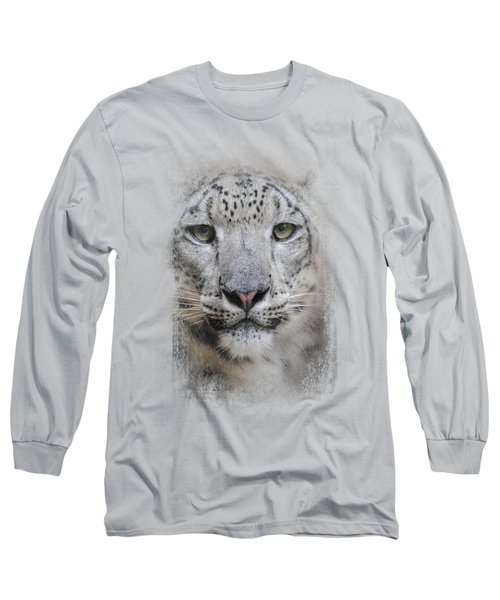 Stare Of The Snow Leopard Long Sleeve T-Shirt by Jai Johnson