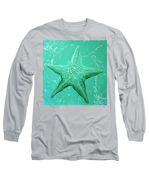 Long Sleeve T-Shirt featuring the painting Starfish In Teal by William Love