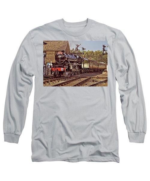 Steam Loco On Yorkshire Railway Long Sleeve T-Shirt