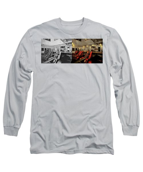 Long Sleeve T-Shirt featuring the photograph Steampunk - Man The Controls 1908 - Side By Side by Mike Savad