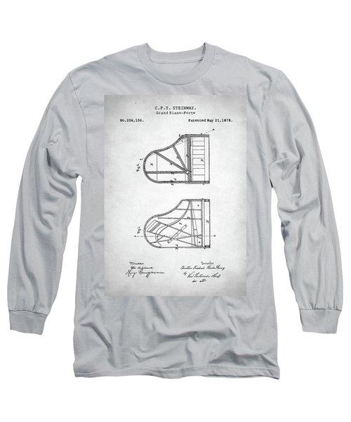 Long Sleeve T-Shirt featuring the digital art Steinway Grand Piano Patent by Taylan Apukovska