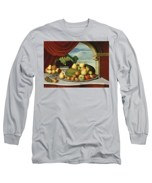 Still Life Fruit In A Classical Setting1854  Long Sleeve T-Shirt