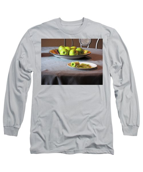 Still Life With Apples And Chair Long Sleeve T-Shirt by Lynda Lehmann
