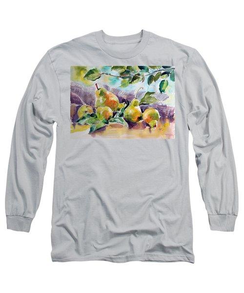 Still Life With Pears Long Sleeve T-Shirt by Kovacs Anna Brigitta