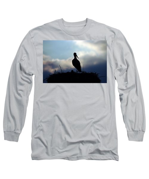 Stork In Evening Light Long Sleeve T-Shirt