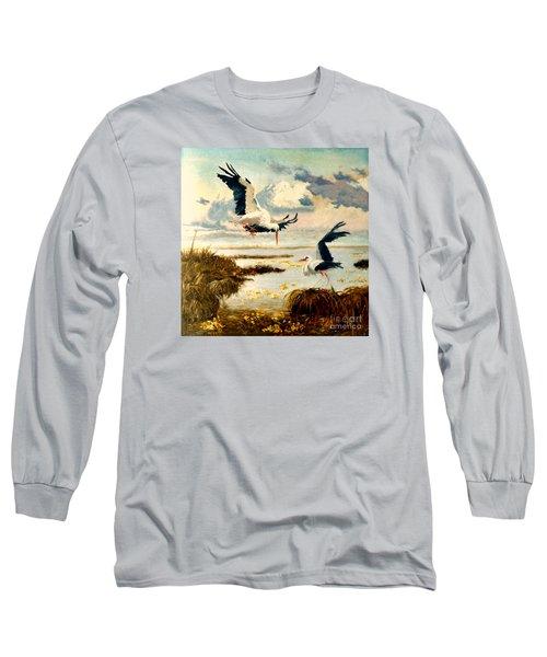 Storks II Long Sleeve T-Shirt by Henryk Gorecki