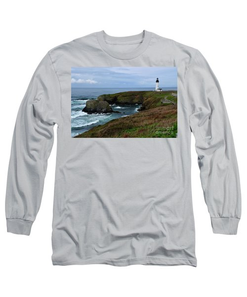 Stormy Yaquina Head Lighthouse Long Sleeve T-Shirt