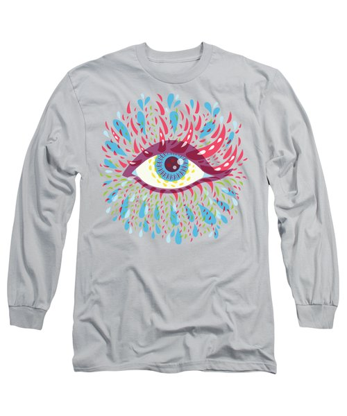 Strange Blue Psychedelic Eye Long Sleeve T-Shirt by Boriana Giormova