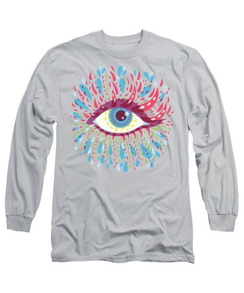 Strange Blue Psychedelic Eye Long Sleeve T-Shirt