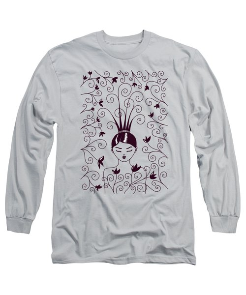 Strange Hairstyle And Flowery Swirls Long Sleeve T-Shirt