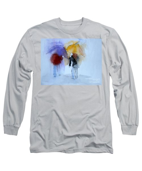 Strolling In The Rain Long Sleeve T-Shirt by Vicki  Housel