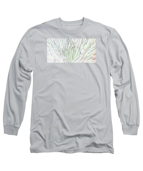 Succulent Leaves In High Key Long Sleeve T-Shirt by Nareeta Martin