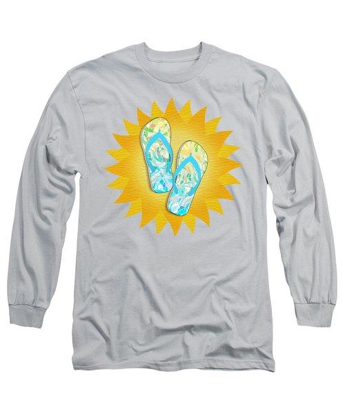 Summer Sunshine And Blue Flip-flops Long Sleeve T-Shirt
