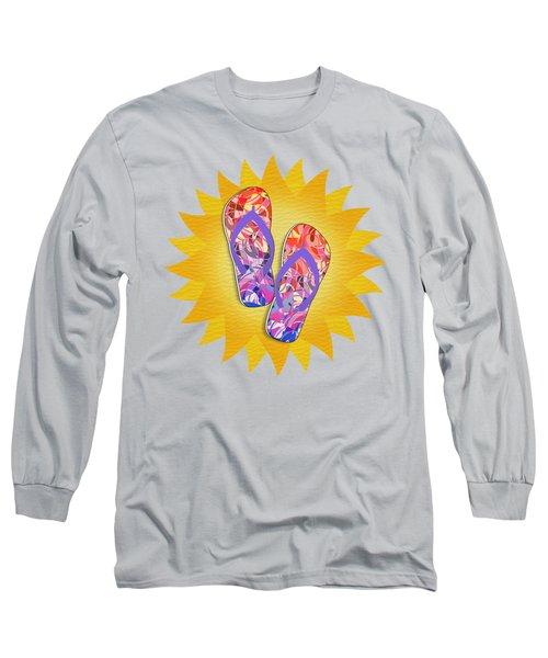 Summer Sunshine And Purple Flip-flops Long Sleeve T-Shirt