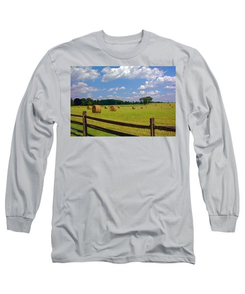 Long Sleeve T-Shirt featuring the photograph Sun Shone Hay Made by Byron Varvarigos