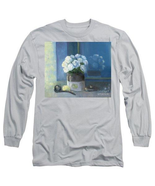 Sunday Morning And Roses - Blue Long Sleeve T-Shirt