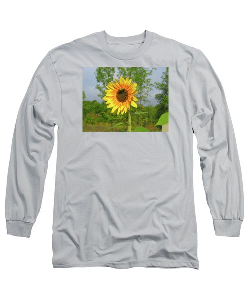 Ah, Sunflower Long Sleeve T-Shirt by Deborah Dendler