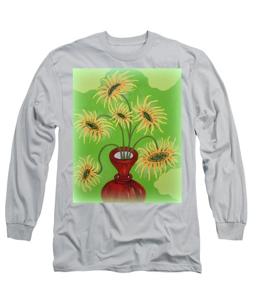 Sunflowers On Green Long Sleeve T-Shirt by Marie Schwarzer