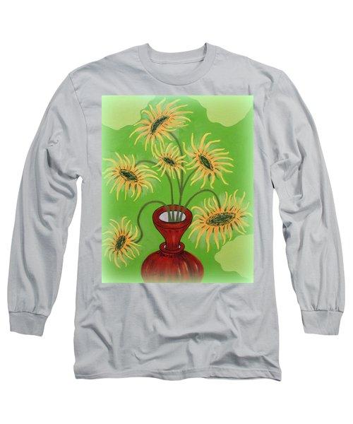 Sunflowers On Green Long Sleeve T-Shirt