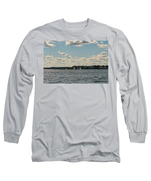 Long Sleeve T-Shirt featuring the photograph Sunlit Sailboats Norwalk Connecticut From The Water by Marianne Campolongo