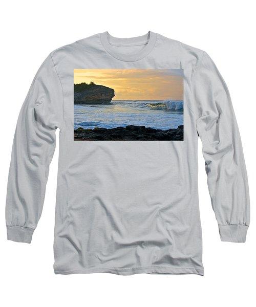 Sunlit Waves - Kauai Dawn Long Sleeve T-Shirt by Marie Hicks