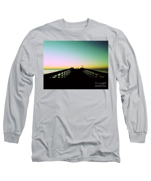 Sunrise At The Myrtle Beach State Park Pier In South Carolina Us Long Sleeve T-Shirt by Vizual Studio