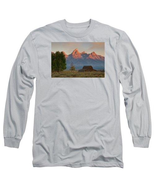 Sunrise In Jackson Hole Long Sleeve T-Shirt by Steve Stuller