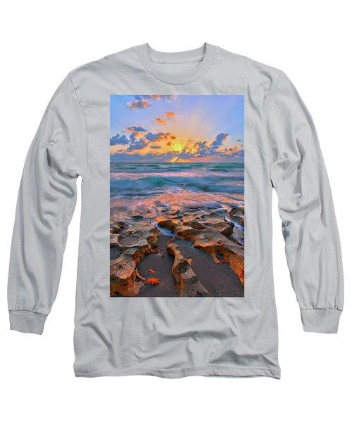 Sunrise Over Carlin Park In Jupiter Florida Long Sleeve T-Shirt by Justin Kelefas