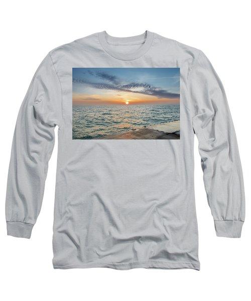 Sunrise Over Lake Michigan Long Sleeve T-Shirt by Peter Ciro