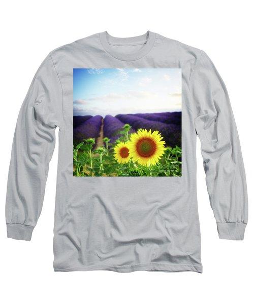 Sunrise Over Sunflower And Lavender Field Long Sleeve T-Shirt