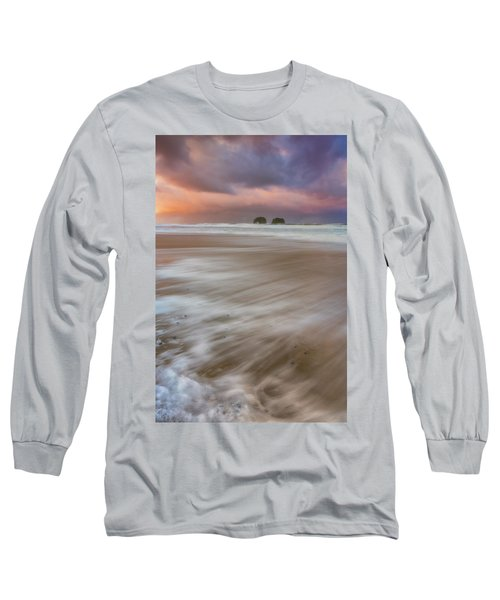 Long Sleeve T-Shirt featuring the photograph Sunrise Storm At Twin Rocks by Darren White