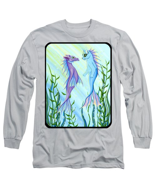 Long Sleeve T-Shirt featuring the painting Sunrise Swim - Sea Dragon Mermaid Cat by Carrie Hawks