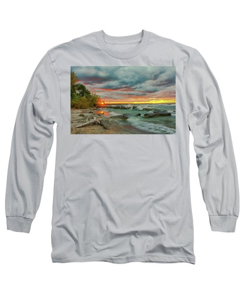 Sunset In Rocky River, Ohio Long Sleeve T-Shirt
