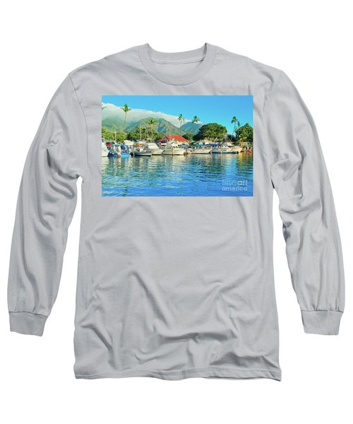 Sunset On The Marina Lahaina Harbour Maui Hawaii Long Sleeve T-Shirt