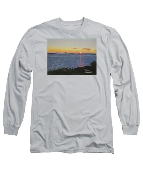 Sunset Over Mackinac Bridge In Mi Long Sleeve T-Shirt