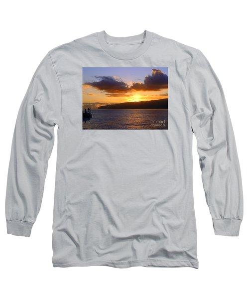 Sunset Over Reunion Island Long Sleeve T-Shirt by John Potts