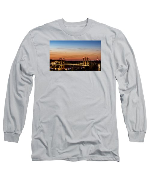 Long Sleeve T-Shirt featuring the photograph Sunset Over The Tacoma Narrows Bridges by Rob Green
