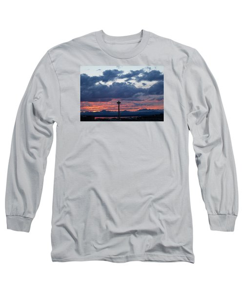 Sunset Red Clouds And Space Needle Long Sleeve T-Shirt by Suzanne Lorenz