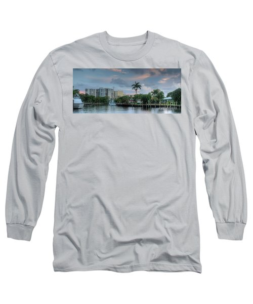 sunset South Florida canal Long Sleeve T-Shirt