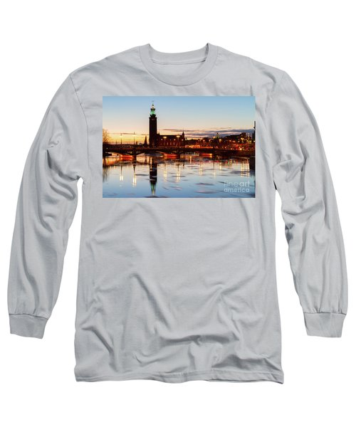 Sunset With Cityhall Of Stockholm Long Sleeve T-Shirt by Anastasy Yarmolovich