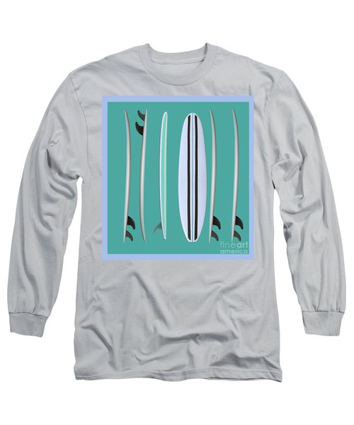 Surfboards Blue Square Long Sleeve T-Shirt