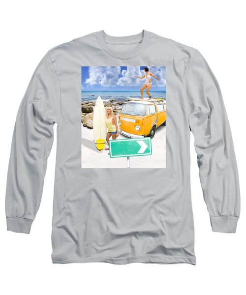 Surfing Holiday This Way Long Sleeve T-Shirt