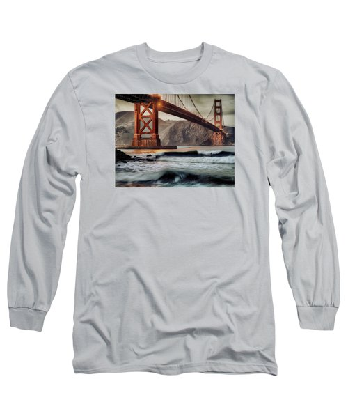 Surfing The Shadows Of The Golden Gate Bridge Long Sleeve T-Shirt by Steve Siri