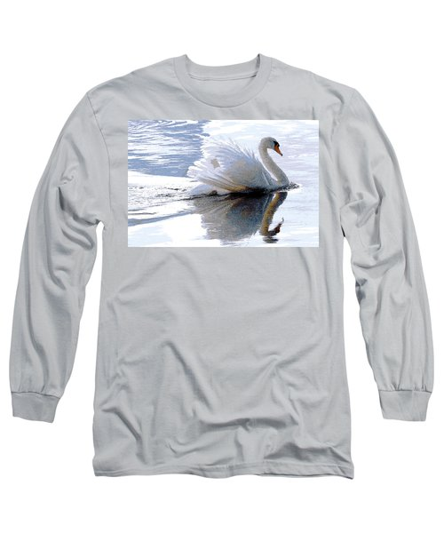 Swan Bathed In Morning Light Series 3 - Digitalart Long Sleeve T-Shirt