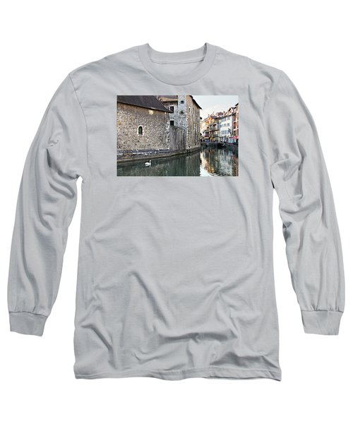 Long Sleeve T-Shirt featuring the photograph Swan In Annecy France Canal by Katie Wing Vigil