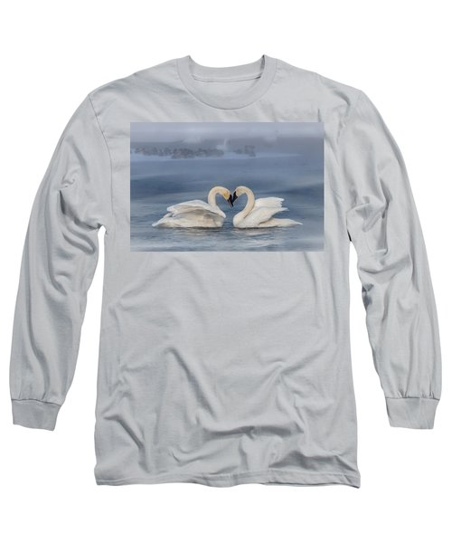 Swan Valentine - Blue Long Sleeve T-Shirt by Patti Deters