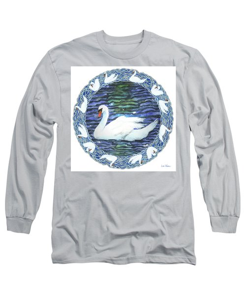 Swan With Knotted Border Long Sleeve T-Shirt by Lise Winne