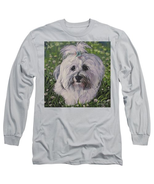 Long Sleeve T-Shirt featuring the painting Sweet Havanese Dog by Lee Ann Shepard
