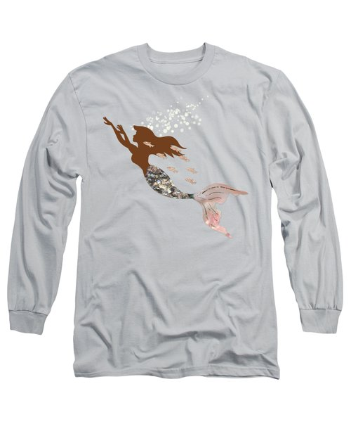 Swimming With The Fishes A Brown Mermaid Racing Rose Gold Fish Long Sleeve T-Shirt by Tina Lavoie