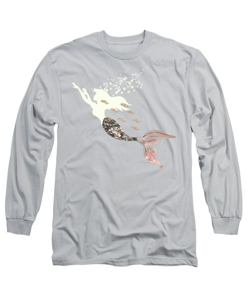 Swimming With The Fishes A White Mermaid Racing Rose Gold Fish Long Sleeve T-Shirt by Tina Lavoie